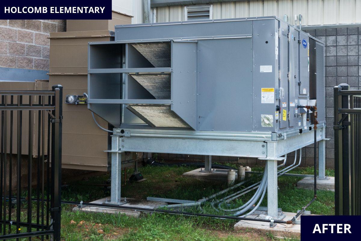 Holcomb_Elementary_Fayetteville_Arkansas_HVAC_Gym_Mountain_Mechanical_Outside_Unit